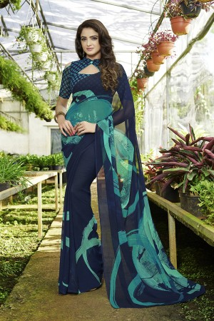 Astounding Navy_blue Georgette Printed Saree