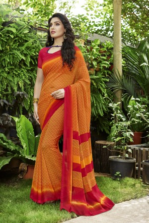 Ravishing Orange Georgette Printed Saree