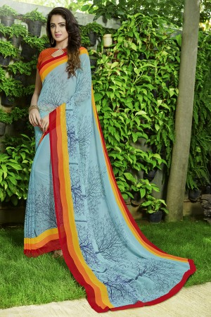 Divine Sky_blue Georgette Printed Saree