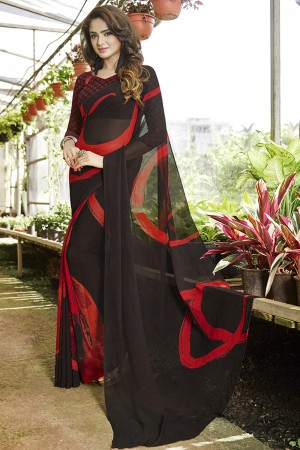 Classic Brown Georgette Printed Saree