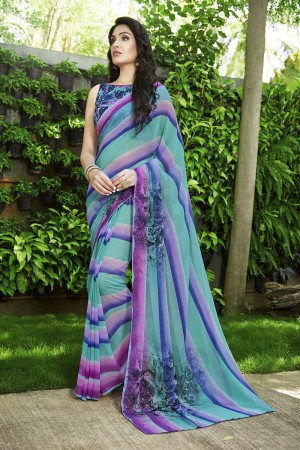 Desirable Multicolor Georgette Printed Saree
