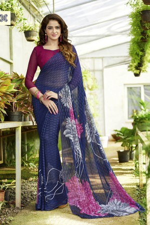 Alluring Navy_blue Georgette Printed Saree