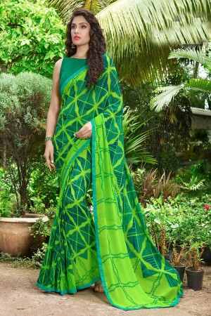 Designer Green Georgette Print with Lace Border Saree