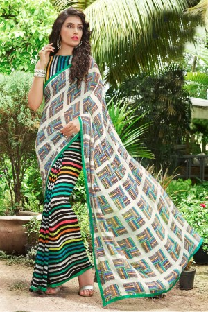 Alluring MultiColor Georgette Print with Lace Border Saree