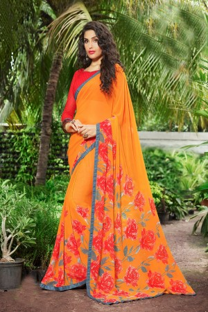Classy Light_orange Georgette Print with Lace Border Saree