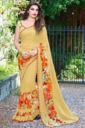 Rust Beige Georgette Beautiful Printed Saree