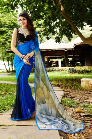 Majestic Blue Georgette Embroidery Blouse with Hand Printed Saree