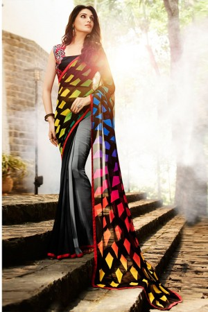 Beauteous Multicolor Georgette Embroidery Blouse with Hand Printed Saree
