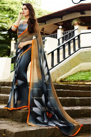 Amiable Grey Georgette Embroidery Blouse with Hand Printed Saree