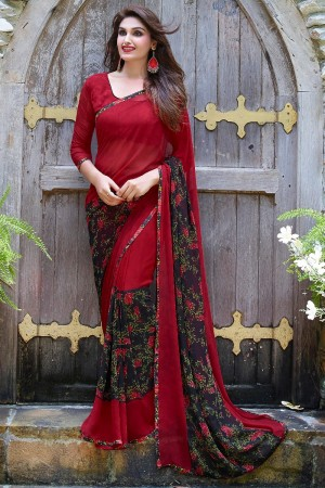 Impressive Red Georgette Beautiful Printed Saree