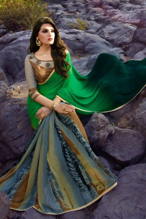 Elegant Green Georgette Embroidery Blouse with Hand Printed Saree
