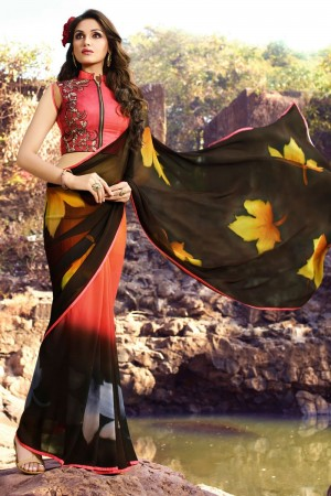 Outstanding Brown Georgette Embroidery Blouse with Hand Printed Saree