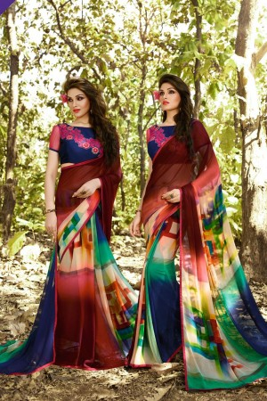 Decent Multicolor Georgette Embroidery Blouse with Hand Printed Saree