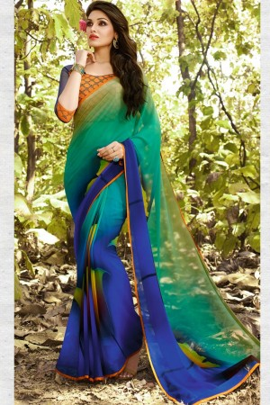 Exquisite Multicolor Georgette Embroidery Blouse with Hand Printed Saree