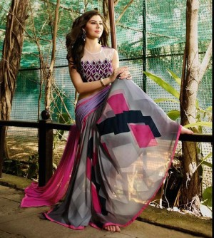 Mind Blowing Grey Georgette Embroidery Blouse with Hand Printed Saree