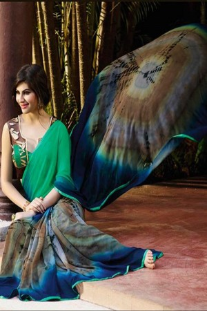 Sparkling Multicolor Georgette Embroidery Blouse with Hand Printed Saree