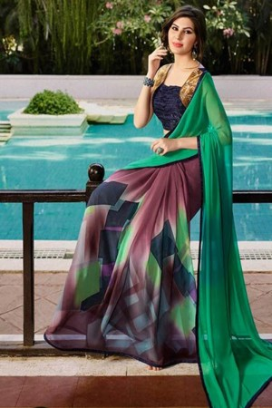 Pleasant Multicolor Georgette Embroidery Blouse with Hand Printed Saree