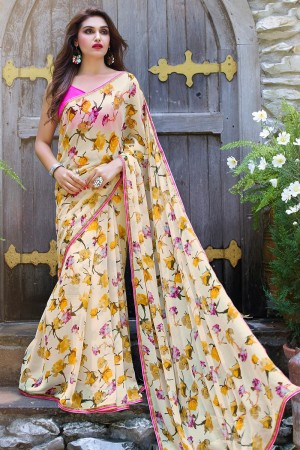 Peppy Cream Georgette Beautiful Printed Saree