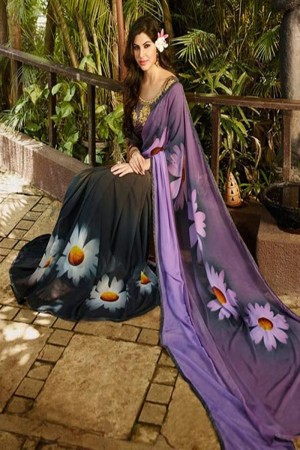 Impressive Purple Georgette Embroidery Blouse with Hand Printed Saree