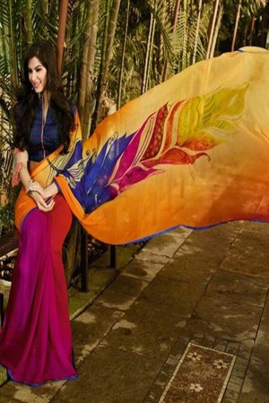 Peppy Orange Georgette Embroidery Blouse with Hand Printed Saree