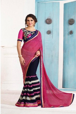 Graceful Pink and NavyBlue Georgette Embroidery Blouse with Bandhej Printed Saree
