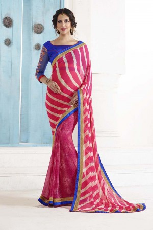 Picturesque Pink Georgette Embroidery Blouse with Bandhej Printed Saree