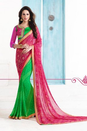 Beautiful Pink and Green Georgette Embroidery Blouse with Bandhej Printed Saree