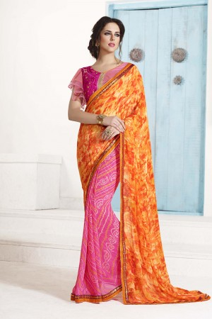 Modish Multicolor Georgette Embroidery Blouse with Bandhej Printed Saree