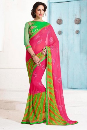 Royal Pink Georgette Embroidery Blouse with Bandhej Printed Saree
