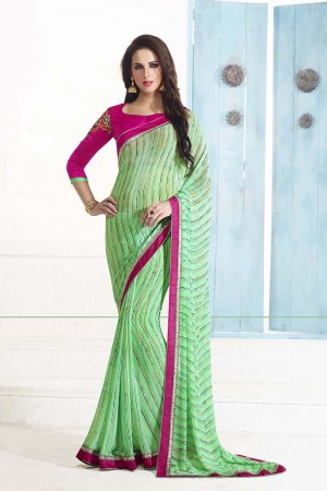 Gorgeous Light_green Georgette Embroidery Blouse with Bandhej Printed Saree