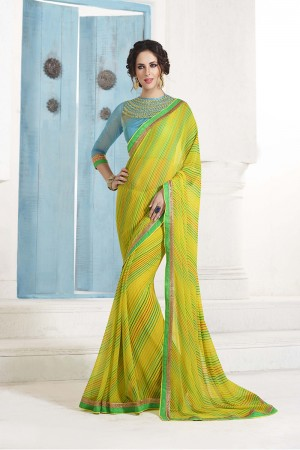 Splendiferous Lemon_yellow Georgette Embroidery Blouse with Bandhej Printed Saree