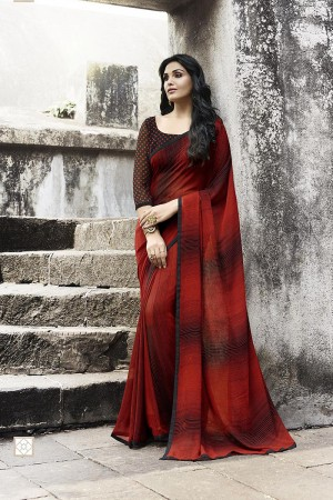 Modish Red Georgette Printed With Lace Border Saree