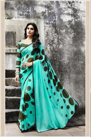 Royal Mint Georgette Printed With Lace Border Saree