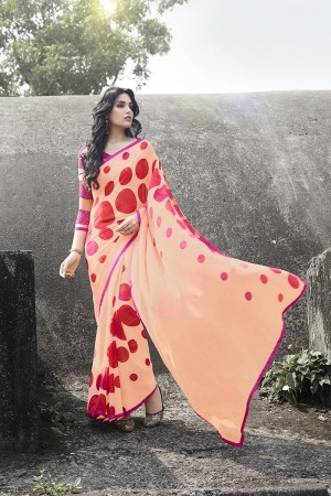 Bedazzling Peach Georgette Printed With Lace Border Saree