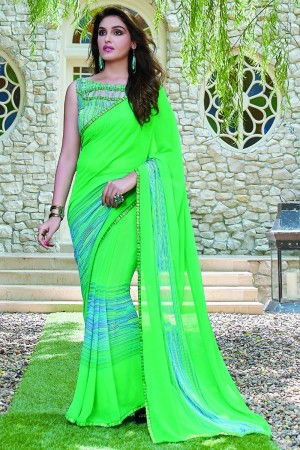 Graceful Green Georgette Beautiful Printed Saree