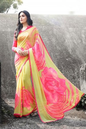 Voguish Yellow Georgette Printed With Lace Border Saree