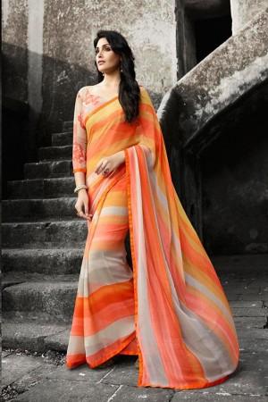 Attractive Multicolor Georgette Printed With Lace Border Saree