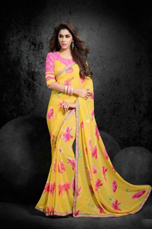 Attractive Yellow Georgette Print with Lace Border Saree