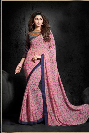 Captivating Pink Georgette Print with Lace Border Saree