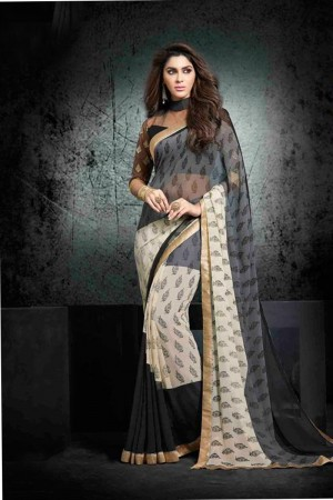 Stunning Multicolor Georgette Print with Lace Border Saree