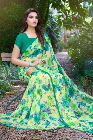 Brilliant Green Georgette Beautiful Printed Saree