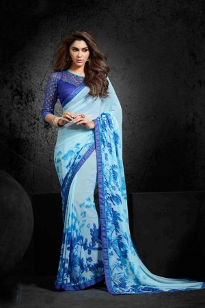 Glitzy Sky_blue Georgette Print with Lace Border Saree