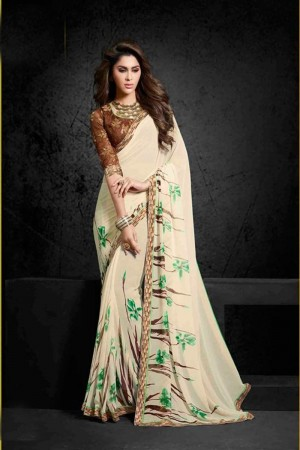 Fabulous Cream Georgette Print with Lace Border Saree