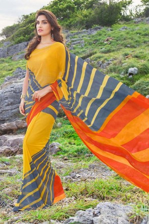 Enriching Yellow Georgette Printed Saree