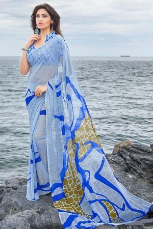 Fantastic Sky_blue Georgette Printed Saree