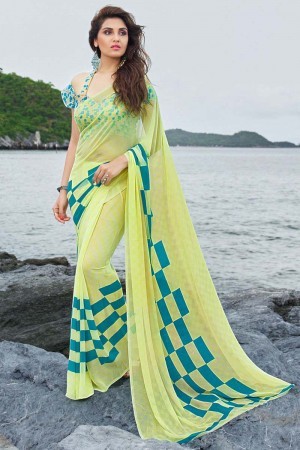 Fantastic Light_yellow Georgette Printed Saree