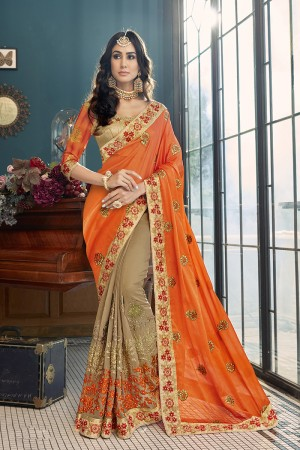 Ambitious Orange and Blue Georgette Embroidery and Lace Border