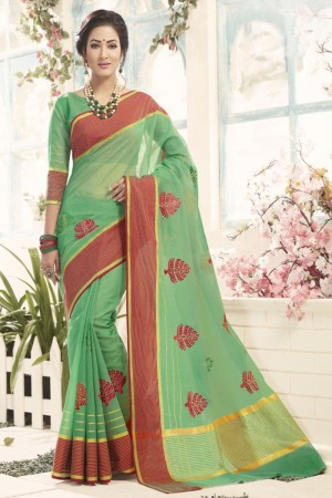 Dashing Green Cotton Silk Embroidery Saree