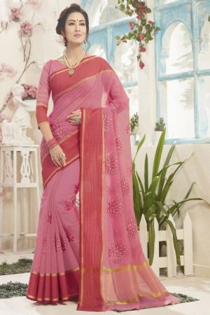 Breezy Light Pink Cotton Silk Embroidery Saree
