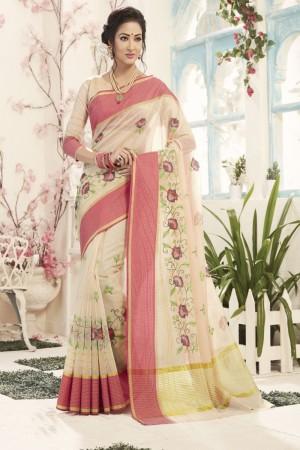 Trendy White Cotton Silk Embroidery Saree
